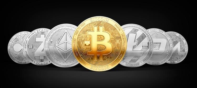 Imagen de criptomonedas Bitcoin, Ethereum, Litecoin, Ripple, Zcash, Monero, Dash