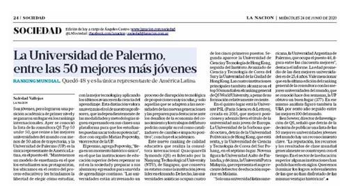Ranking QS: la Universidad de Palermo, entre las 50 mejores más jóvenes del mundo