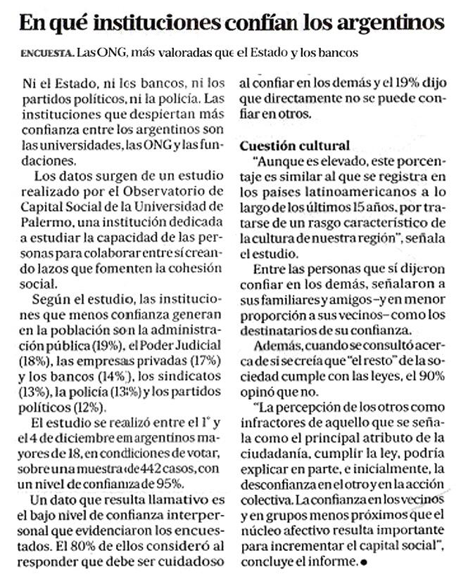 En qué instituciones confían los argentinos